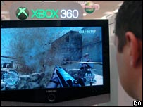Person playing an XBox 360 game