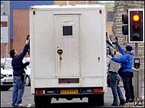 A prison van leaves Cardiff Magistrates Court