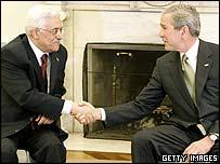 Mahmoud Abbas and George W Bush