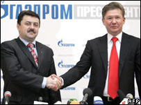 Ukraine's Oleksiy Ivchenko and Gazprom chief Alexei Miller