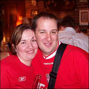 Liverpool fans Louise and Dave in New York