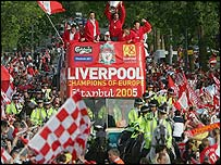Liverpool's players on victory parade