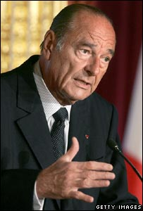 French President Jacques Chirac delivering his New Year message