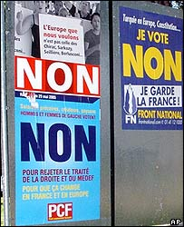 Communist and National Front posters both call for a No vote