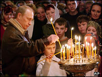 Президент Путин во время Рождества-2005 в Тверской области