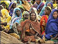 Women in a refugee camp in West Darfur