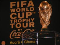 The World Cup trophy on display in Ghana