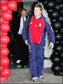 Lions captain Brian O'Driscoll leads his squad through the arrivals hall