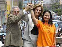 Mr Fujimori's running mates with his daughter Keiko (right)