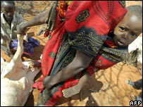 A family in the drought-stricken village of El Wak, in the north-eastern province of Kenya