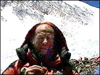 Sir Ranulph Fiennes on videophone at base camp