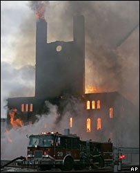 Pilgrim Baptist Church in flames