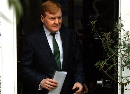Charles Kennedy leaves his home in south London on Saturday to give a statement announcing his resignation as Liberal Democrat leader