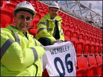 Wembley National Stadium chief executive Michael Cunnah (left) and Multiplex construction project director Ashley Muldoon at Wembley Stadium