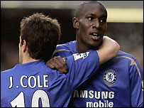 Carlton Cole (right) celebrates scoring Chelsea's opener with Joe Cole