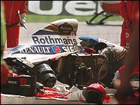 The wreckage of Ayrton Senna's Williams after his crash in the 1994 San Marino Grand Prix