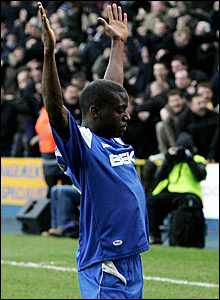 Milwall's Marvin Williams celebrates his goal against Everton