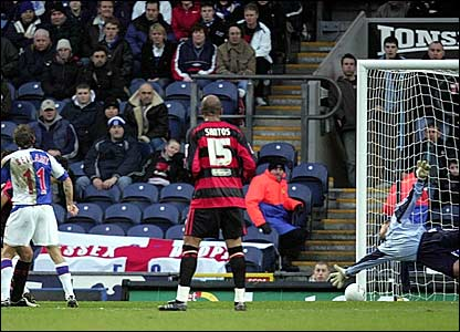 Craig Bellamy scores his first and Blackburn's second