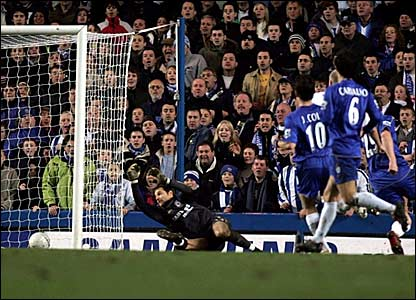Chelsea keeper Carlo Cudicini (left) cannot keep out Gary Taylor-Fletcher's effort