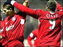 Liverpool celebrate Steven Gerrard's brilliant opener against Luton