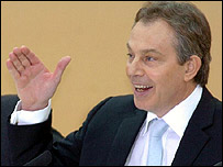 UK Prime Minister Tony Blair announcing the launch of the report of the Commission for Africa