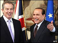 Tony Blair and Silvio Berlusconi on Friday