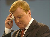 Charles Kennedy, sweating at a party conference speech