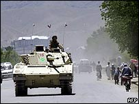 Nato tank on the streets of Kabul (SHAH MARAI/AFP/Getty Images)