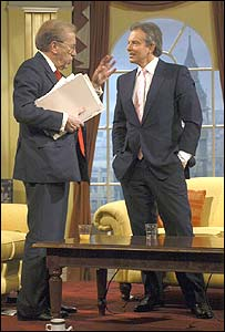 David Frost and Tony Blair on the Breakfast with Frost set