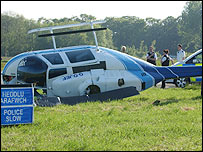 The helicopter lying on its side