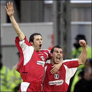 Goalscorer Craig Easton celebrates after putting Orient into the lead