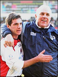 Graham Roberts celebrates with assistant Joe Miller
