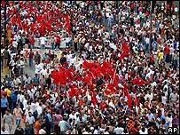Manifestantes en el centro de Ciudad de Panamá