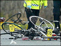 A cycle amid the wreckage at the scene of fatal crash in north Wales