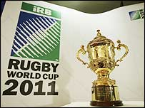 The William Webb Ellis trophy, currently held by England