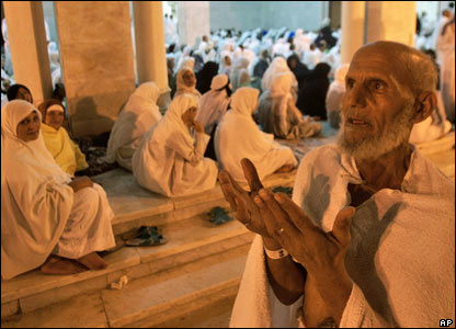 Elderly pilgrim at mosque at Mt Arafat, near Mecca