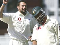 Harmison took two wickets in the second over of the day