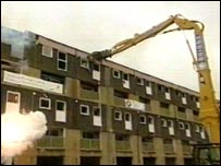 Demolition of Stanhope flats