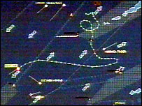 A computer image of the ship's meandering course