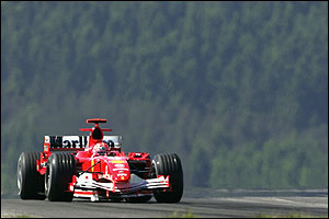 Michael Schumacher with the Eifel mountain forests in the back ground