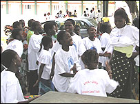 Trafficked children at a children's home in Benin