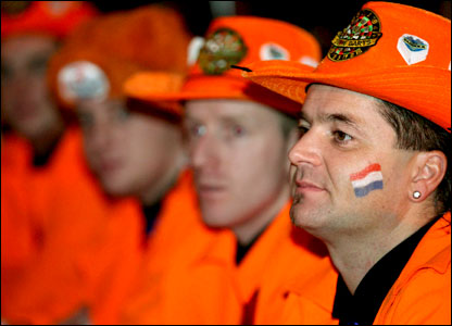Darts fans from Holland enjoy the World Professional Darts Championships