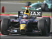 Heikki Kovalainen on his way to victory at the Nurburgring