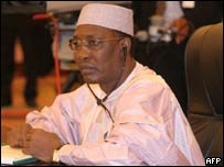 Chad's President Idriss Deby attends 17 May 2005 the closing session of an African mini-summit in Tripoli on peace efforts for Sudan's war-torn Darfur region