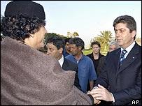 Bulgarian President Georgi Parvanov with Libya's Muammar Gaddafi