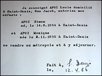 Letter authorising France to take charge of children