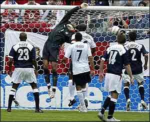England goalkeeper David James in action