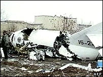 Wreckage of the Falcon military plane [Frame grab taken from Iranian Al-Alam TV]