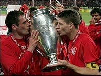 Jamie Carragher and Steven Gerrard celebrate the Champions League win