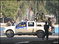The main entrance to the Ministry of Interior complex is blocked off by Iraqi police and soldiers following the suicide attack